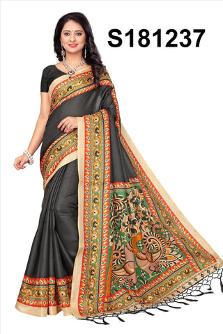 Black Color Khadi Silk Jhalor - Khadi-S181237