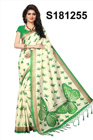 WhiteGreen Color Khadi Silk Saree - Khadi-S181255
