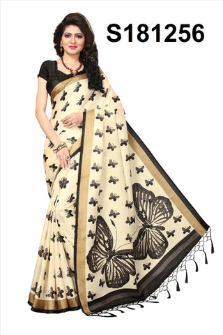 WhiteBlack Color Khadi Silk Jhalor - Khadi-S181256