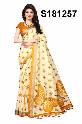 WhiteOrange Color Khadi Silk Jhalor - Khadi-S181257