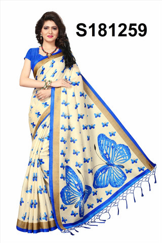 WhiteBlue Color Khadi Silk Jhalor - Khadi-S181259