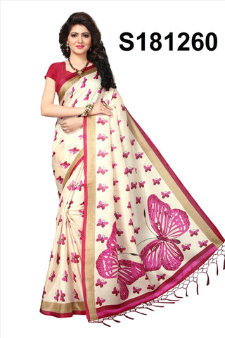 WhitePink Color Khadi Silk Jhalor - Khadi-S181260
