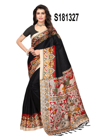 Black Color Khadi Silk Jhalor - Khadi-S181327