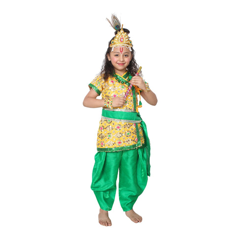 Green Color Cotton Blend Fancy Costume Dress  - Krishna-11
