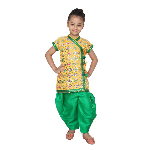 Green Color Cotton Blend Fancy Costume Dress  - Krishna-1