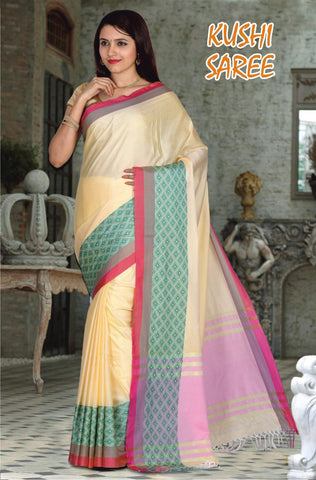 Cream and Red Color Cotton Masaraised Saree - Kushi-002