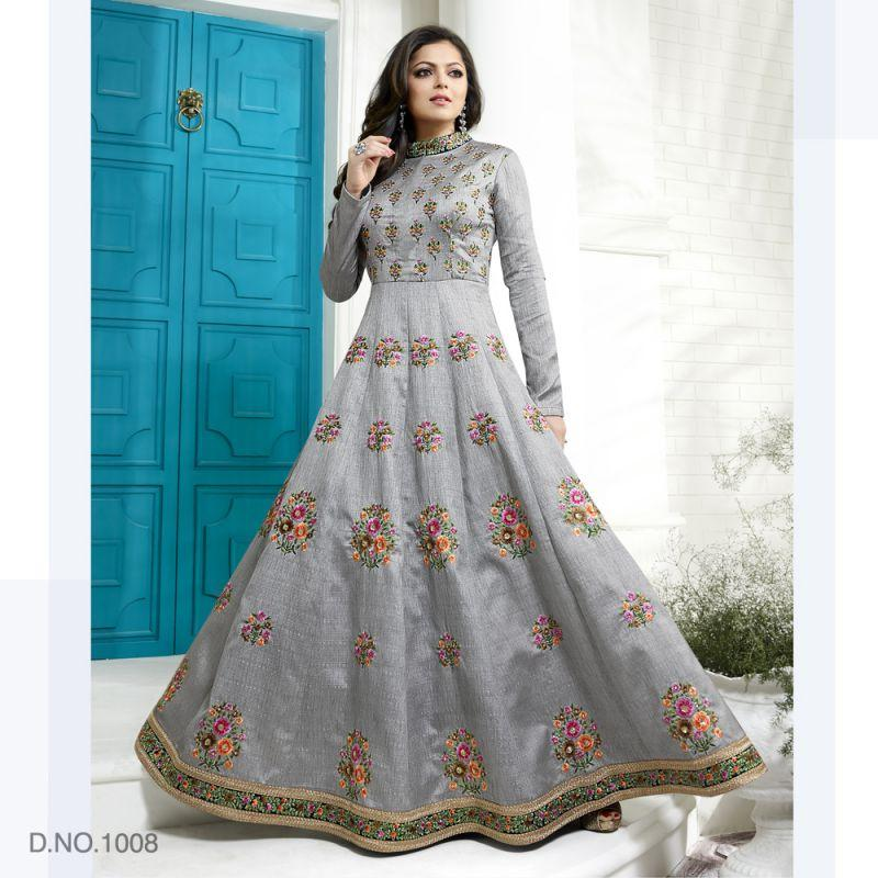 Grey Color ArtSilk Salwars