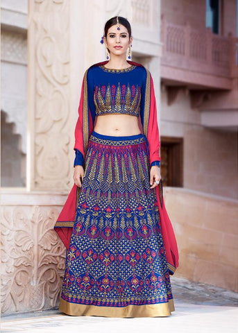RUDRA FASHION- Blue  Color Banglori Silk Lehenga-L-24