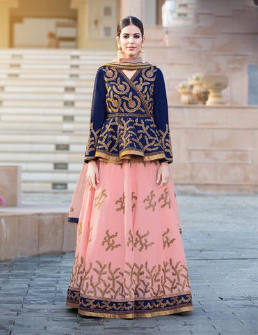 RUDRA FASHION- Peach Color Banglori Silk Lehenga-L-26