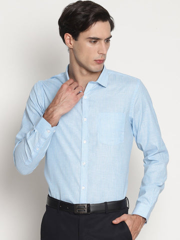 Light Blue Color Cotton Formal Men's Shirt - L-BLU-LINE-MFS