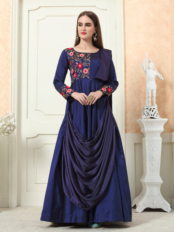 NavyBlue Color Tafeta Silk Stitched Gown - LADY-1901