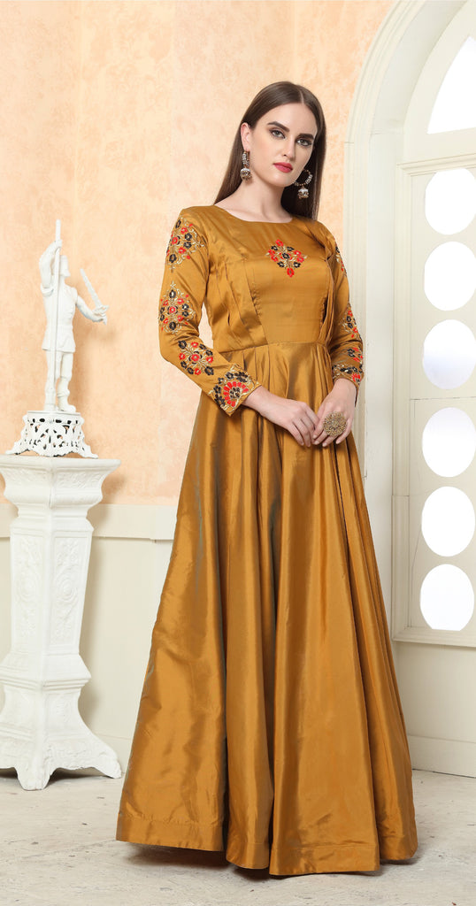 Buy Gold Color Tafeta Silk Stitched Gown
