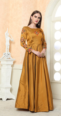 Gold Color Tafeta Silk Stitched Gown - LADY-1902.