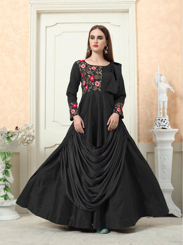 Black Color Tafeta Silk Stitched Gown - LADY-1904