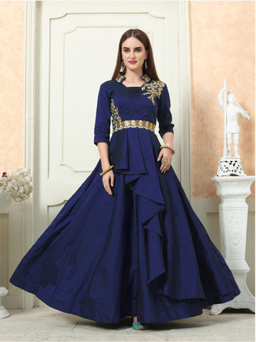 NavyBlue Color Tafeta Silk Stitched Gown - LADY-1906