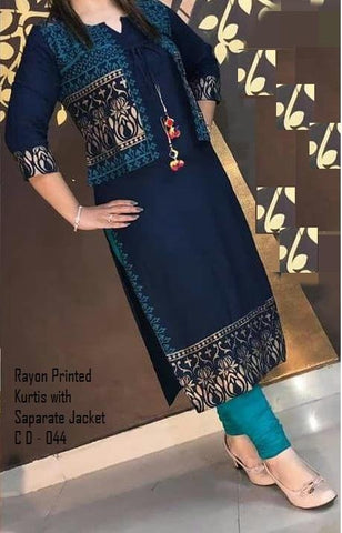 Navy Blue Color Rayon Women's Stitched Kurti - LCH-111