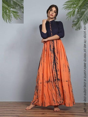 Black and Orange Color Rayon Women's Stitched Kurti - LCH-115