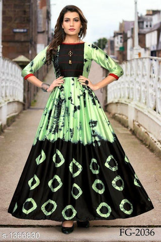 Green and Black Color Rayon Women's Stitched Kurti - LCH-137