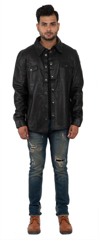 FRANCHISE CLUB Black Color Sheep Nappa Leather Mens Shirt - LEATHERSHIRTBLACK