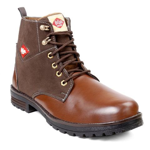 BROOKE Brown Color Synthetic Men Boots - LEECOOPER