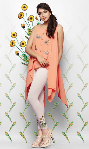 Peach Color Lycra Cotton Legging - LEEMP68