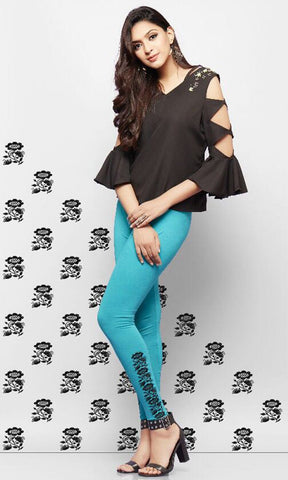 Cyan Color Lycra Cotton Legging - LEEMPY60