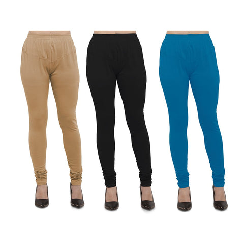 COMBOS-Cotton Lycra Leggings - LEG-CMB-BIG-BLK-AQU