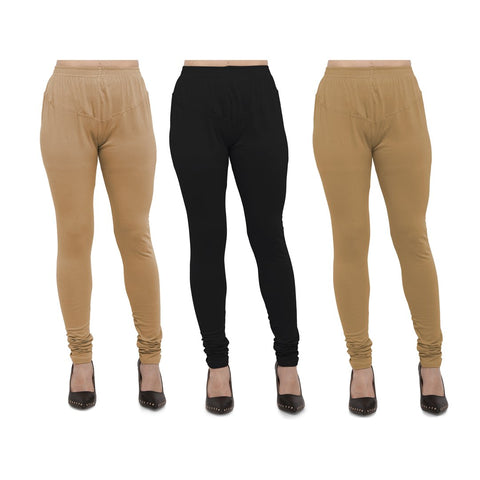 COMBOS-Cotton Lycra Leggings - LEG-CMB-BIG-BLK-GLD