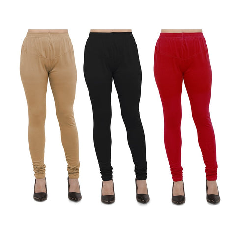 COMBOS-Cotton Lycra Leggings - LEG-CMB-BIG-BLK-RED