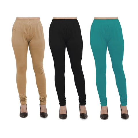 COMBOS-Cotton Lycra Leggings - LEG-CMB-BIG-BLK-TUR