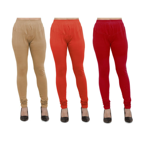 COMBOS-Cotton Lycra Leggings - LEG-CMB-BIG-CRED-RED