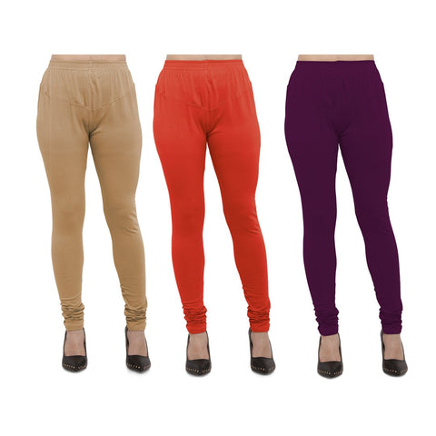 COMBOS-Cotton Lycra Leggings - LEG-CMB-BIG-CRED-WNE
