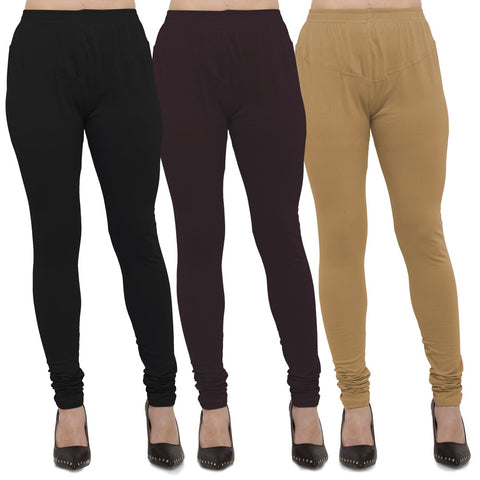 Black,Brown And Gold Color Cotton Lycra Leggings - LEG-CMB-BLK-BRN-GLD