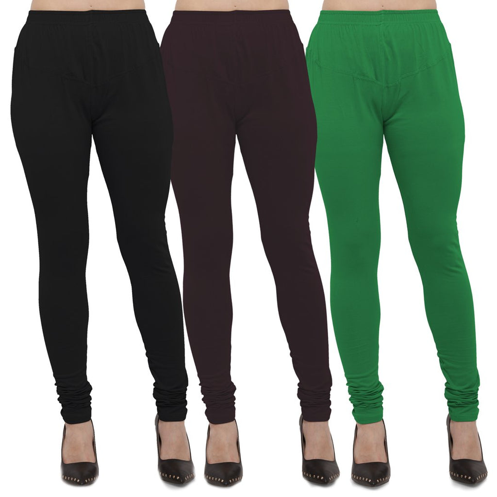 Buy Black,Brown And Green Cotton Lycra Leggings