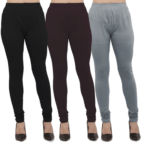 Black,Brown And Grey Color Cotton Lycra Leggings - LEG-CMB-BLK-BRN-LGRY