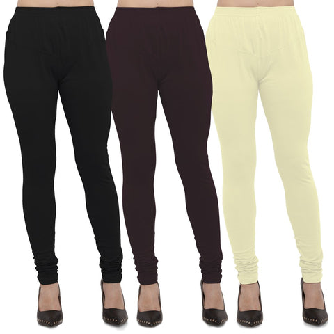 Black,Brown And Yellow Color Cotton Lycra Leggings - LEG-CMB-BLK-BRN-LYLW