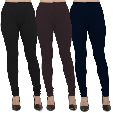 Black,Brown And Navy Blue Color Cotton Lycra Leggings - LEG-CMB-BLK-BRN-NBL