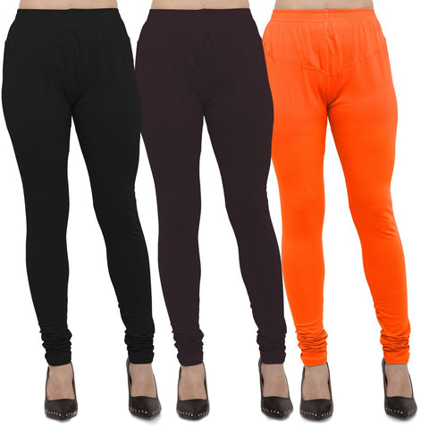 Black,Brown And Orange Color Cotton Lycra Leggings - LEG-CMB-BLK-BRN-ORN