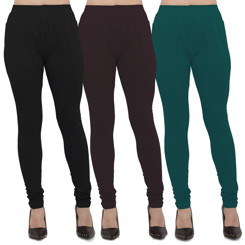 Buy Black,Brown And Peacock Blue Cotton Lycra Leggings