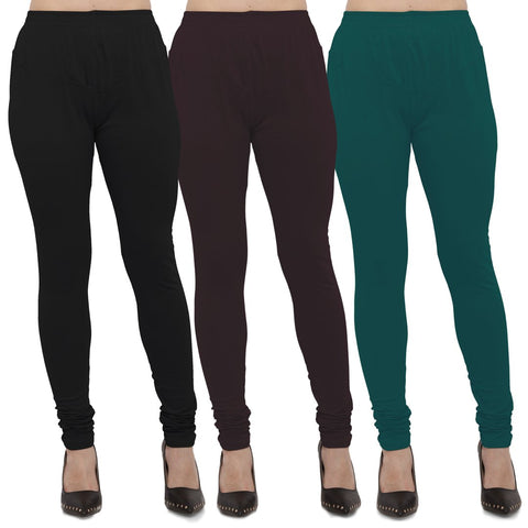 Black,Brown And Peacock Blue Color Cotton Lycra Leggings - LEG-CMB-BLK-BRN-PBLU