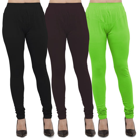 Black,Brown And Parrot Green Color Cotton Lycra Leggings - LEG-CMB-BLK-BRN-PGRN