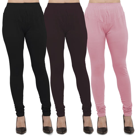 Black,Brown And Pink Color Cotton Lycra Leggings - LEG-CMB-BLK-BRN-PNK
