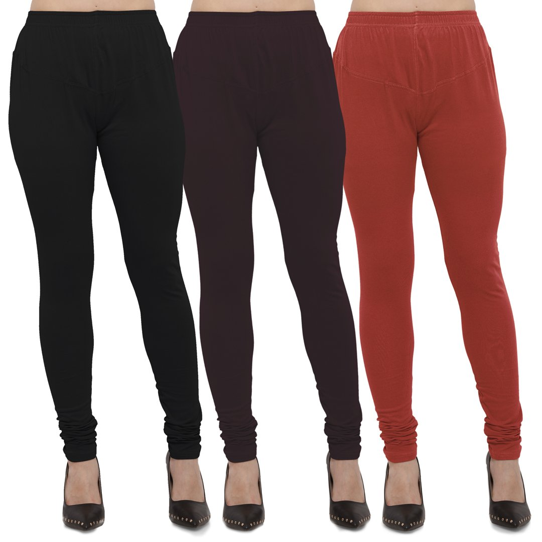 7fd4f10afffec Buy Black,Brown And Rust Cotton Lycra Leggings | Zinnga