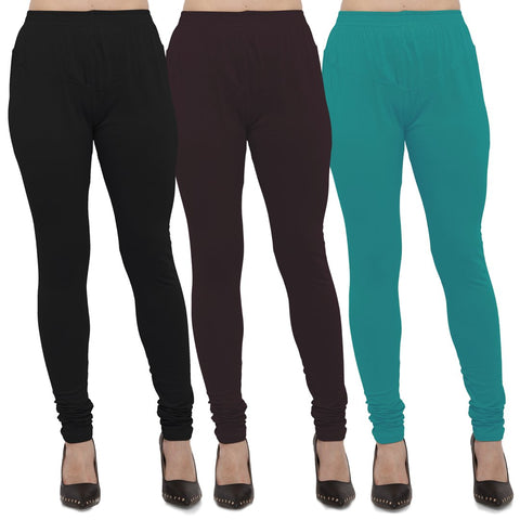 Black,Brown And Turquoise Color Cotton Lycra Leggings - LEG-CMB-BLK-BRN-TUR