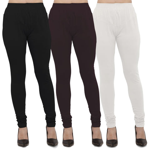 Black,Brown And White Color Cotton Lycra Leggings - LEG-CMB-BLK-BRN-WHT