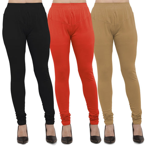Black,Carrot Red And Gold Color Cotton Lycra Leggings - LEG-CMB-BLK-CRED-GLD