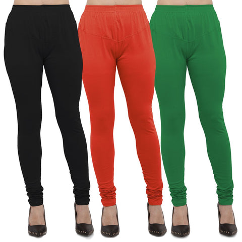 Black,Carrot Red And Green Color Cotton Lycra Leggings - LEG-CMB-BLK-CRED-GRN