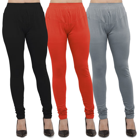 Black,Carrot Red And Light Grey Color Cotton Lycra Leggings - LEG-CMB-BLK-CRED-LGRY