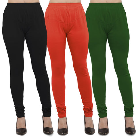 Black,Carrot Red And Mehendi Color Cotton Lycra Leggings - LEG-CMB-BLK-CRED-MHD