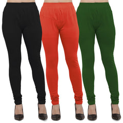 Buy Black,Carrot Red And Mehendi Cotton Lycra Leggings